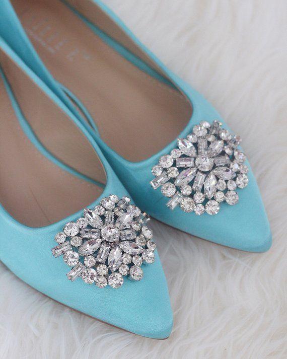 4968aea49 Women Wedding Shoes, Bridesmaid Shoes - TIFFANY BLUE Satin Pointy toe flats  with oversized rhinestones brooch