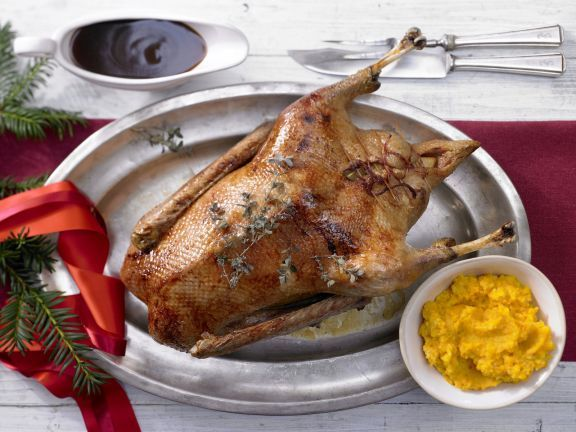 Smarter Roast Goose with Mashed Potato and Pumpkin   Eat Smarter