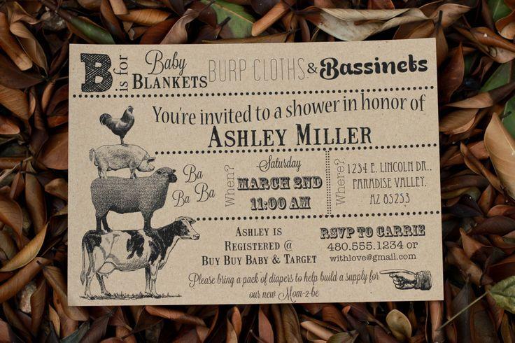 Vintage Farm Animal Baby Shower Invitation- You print. $7.00, via Etsy.- invite-
