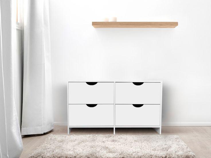 Brooklyn MIdi Drawers White and Floating Shelf