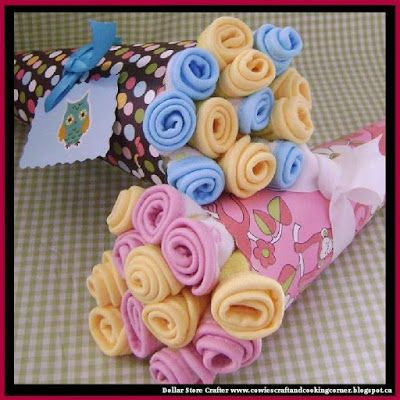Dollar Store Crafter: DIY Wash Cloth Bouquet ~ Baby Shower Gift