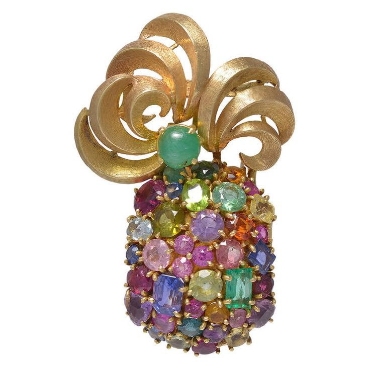 Seaman Schepps Multi Stone Pineapple Brooch | From a unique collection of vintage brooches at https://www.1stdibs.com/jewelry/brooches/brooches/