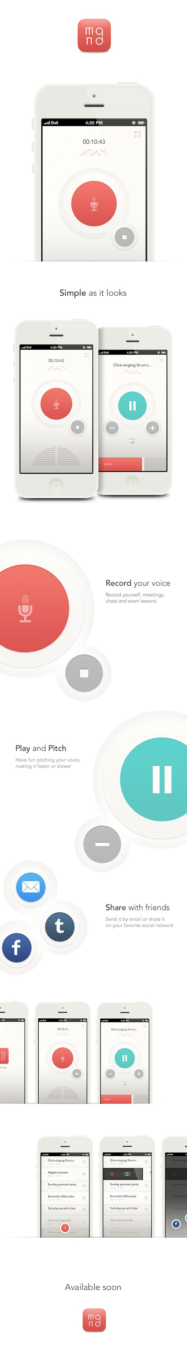 Record everything you want, have fun and share all your sounds on your favorite social networks...all in a minimally designed app.-www.monorecorder.com