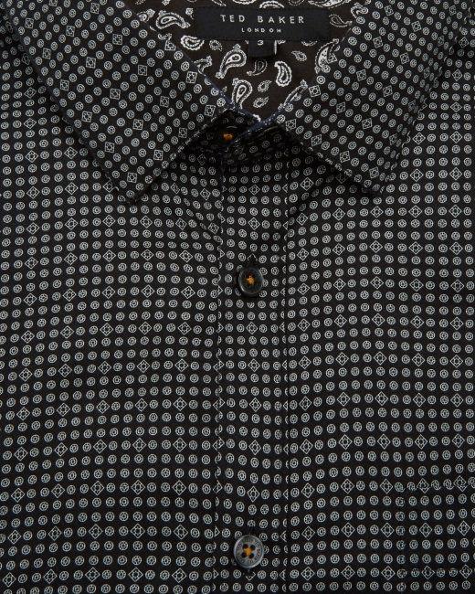 Geo print cotton shirt - Black | Shirts | Ted Baker