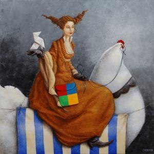 Catherine Chauloux La Dame à la poule blanche (De dame met de witte kip)