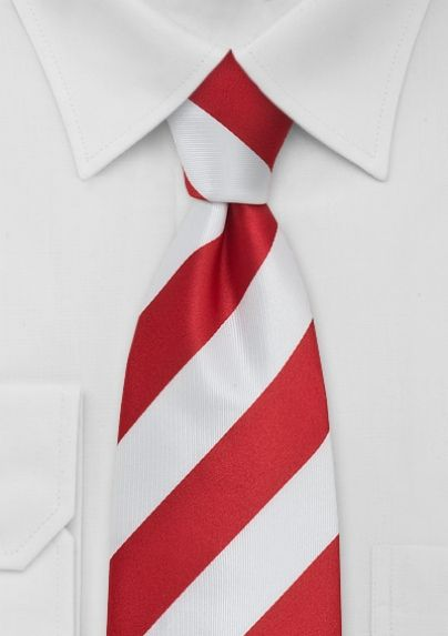 Red and White Striped Mens Tie