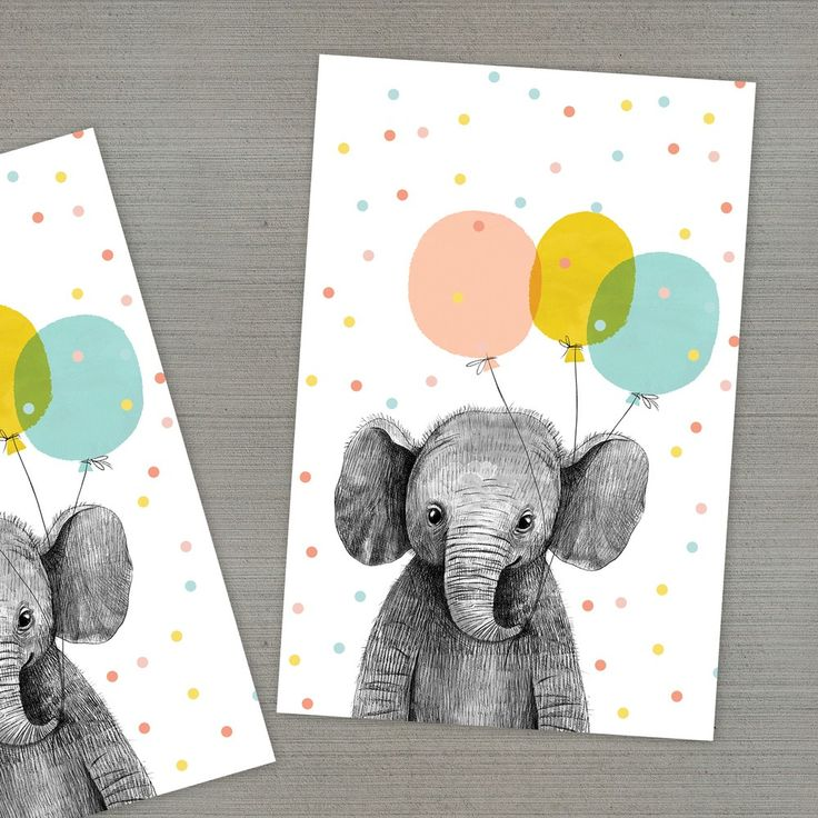 Открытка со слоном и шариками своими руками, надписями про