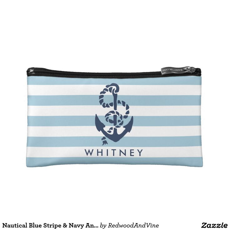 Nautical Blue Stripe & Navy Anchor Personalized Makeup Bag