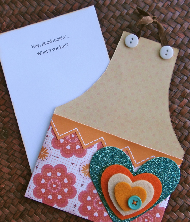 bridal shower invitations with recipe card attached%0A Hey Good Lookin u     Apron Card  invite inspiration