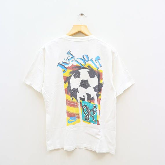 Vintage Nike Soccer Just Do It Sportswear White Tee T Shirt Size M Vintage Nike White Tees Nike Soccer