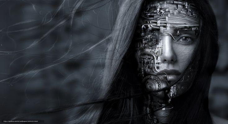 carta da parati ragazza, robot, volto, capelli, visualizzare, Mono Desktop - il numero dell'immagine655431