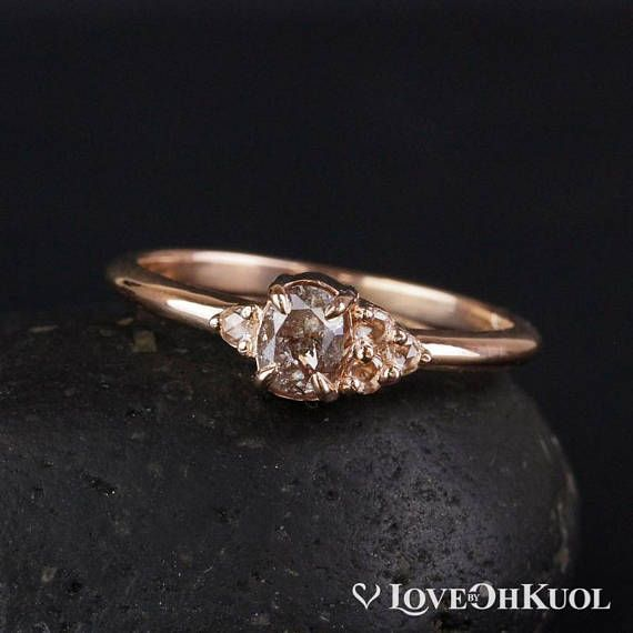 Natural Pink Diamond Cluster Ring Rose Gold Anniversary