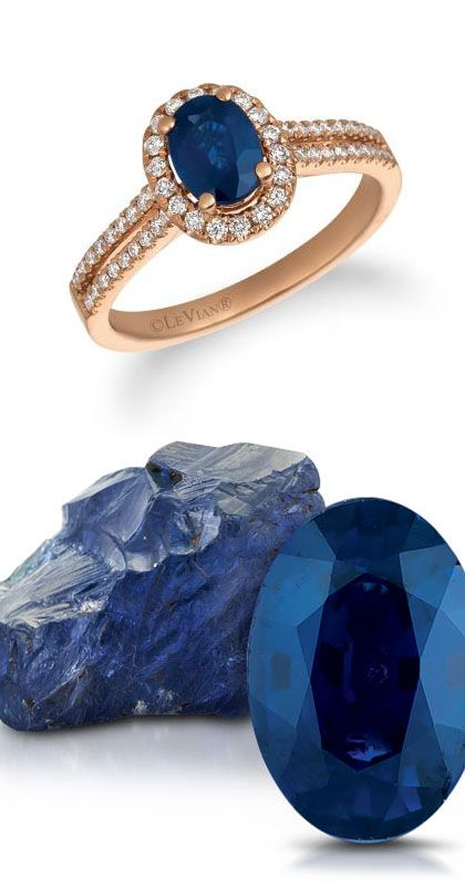 14K Strawberry Gold® Blueberry Sapphire™ 3/4 cts. Ring with Vanilla Diamonds® 1/3 cts.