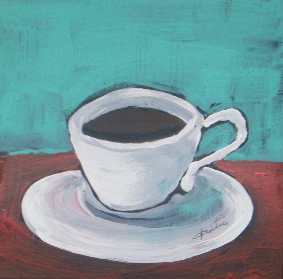 Morning Coffee Original Acrylic Painting Still Life by VESNAsART