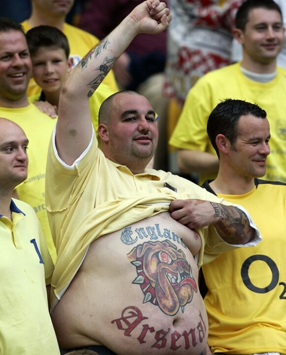 Arsenal futbol fans are crazy about their team.
