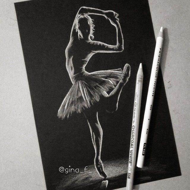 Little white charcoal Ballerina on black paper  #Ballerina #whitecharcoal…