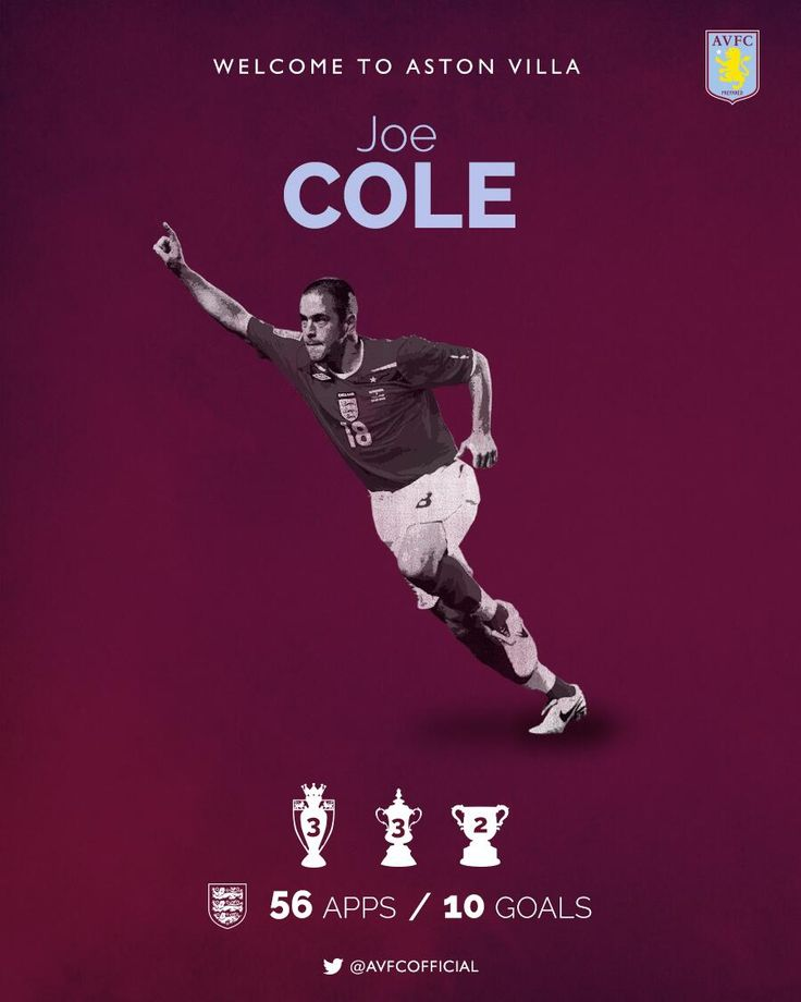 A big claret and blue welcome to our new signing Joe Cole. More to follow. #AVFC pic.twitter.com/mdtIeY2nYm