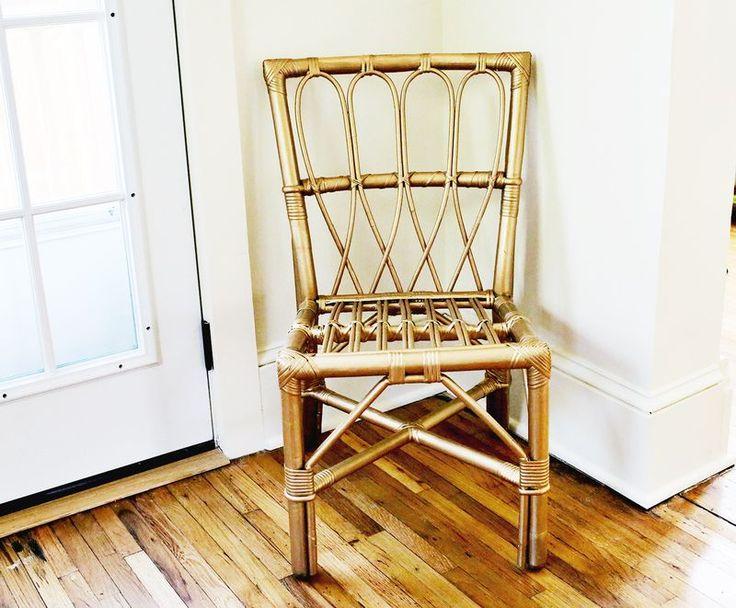 Old Wicker Chair Painted With Martha Stewart Liquid Gildingu2026 So Pretty!