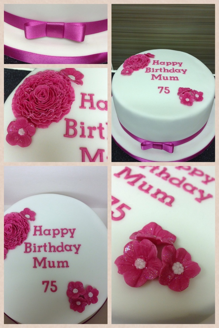 75th Birthday Cake With Ruffle Rose Birthday Party Ideas Pinterest