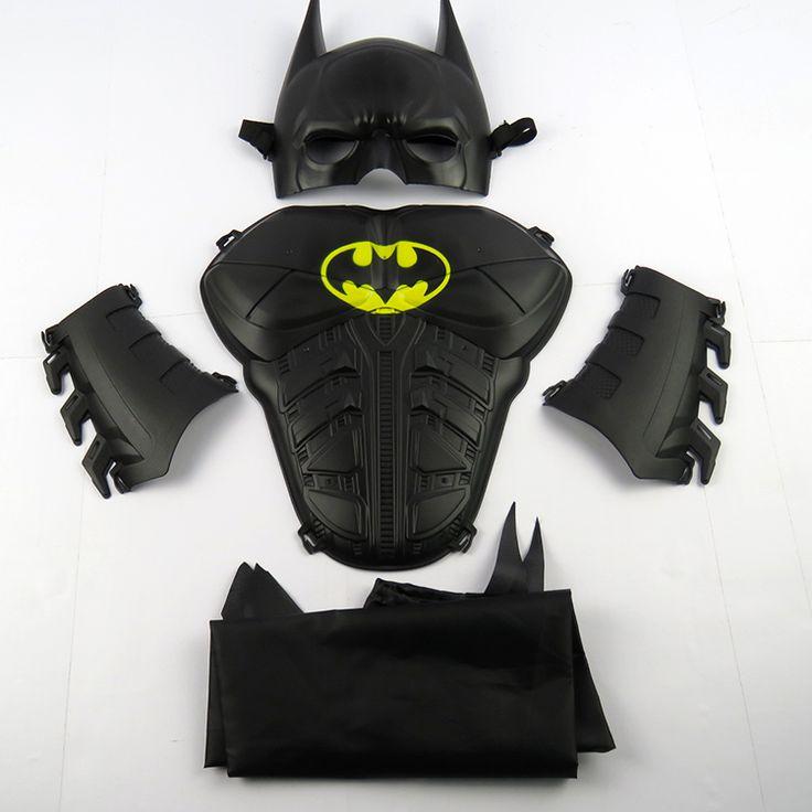 Child Cosplay Halloween Make up Toy Child shield mask ball props toy batman mask set + wristband +cloak masque Birthday gift