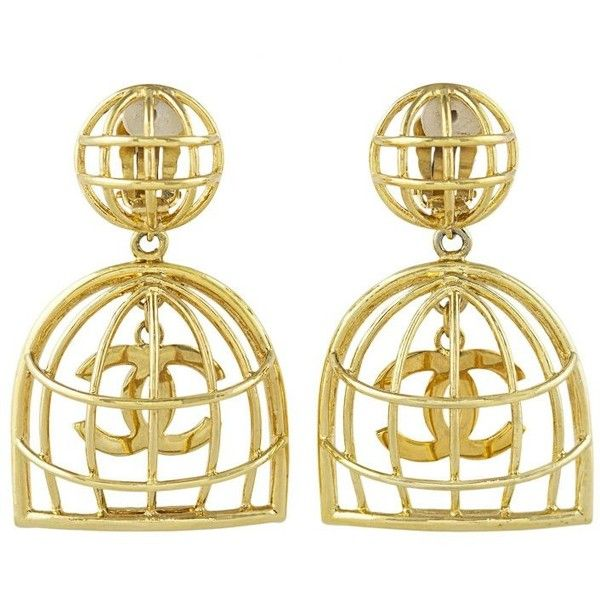 Preowned Chanel Famous Birdcage Earrings (6,355 SAR) ❤ liked on Polyvore featuring jewelry, earrings, beige, earring jewelry, gold plated earrings, chanel jewellery, 1980s earrings and pre owned jewelry