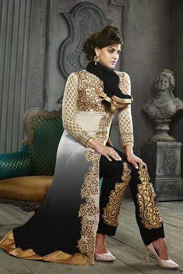 cream - grey embroidered georgette semi-stitched salwar with dupatta