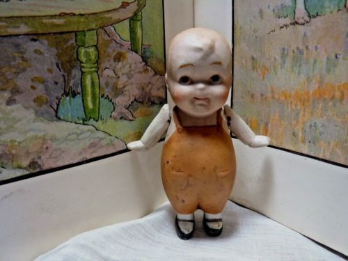 NIPPON BISQUE DOLL jointed arms chubby LITTLE BOY brown romper
