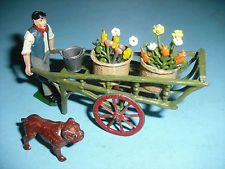 Britains Vintage Lead Gardener with Hand Cart / Flower Baskets / Pail & Bulldog