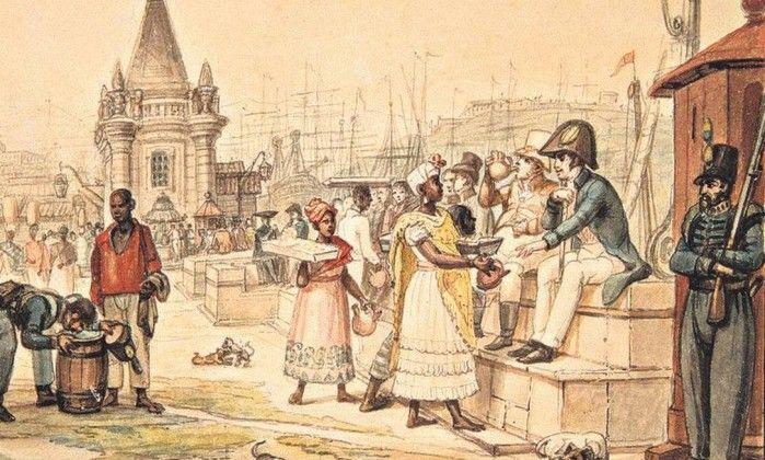 """Escravos e soldados na pra Quinze, Rio de Janeiro. Jean-Baptiste Debret.Estava nascendo na Europa a ideia de Estado democrático; com a ajuda dos EUA, os termos """"direito"""" e """"cidadão"""" vinham tomando conta das discussões. O Brasil usou desses conceitos para criação da constituição de 1824, contudo, as restrições minuciosas sobre quem era cidadão, fazia com que só uma parte da elite tivesse totalmente esse cargo.Por mais livre que o negro fosse, seus direitos seriam reduzidos."""