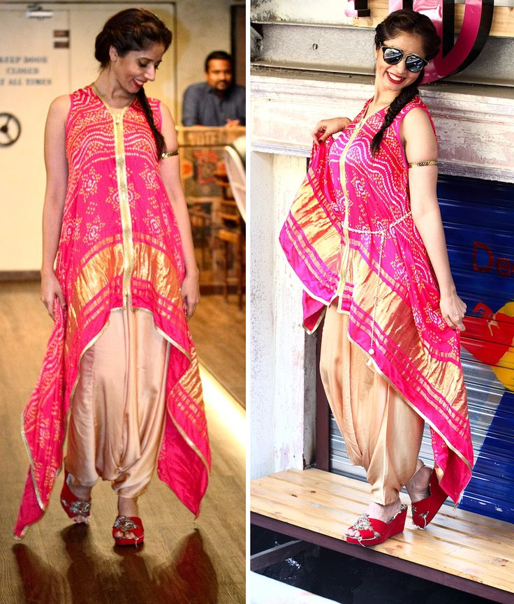 Bandhej, uneven hemline, zip details and haremish dhoti pants plus the gold colour of pants and a very fuchsia top