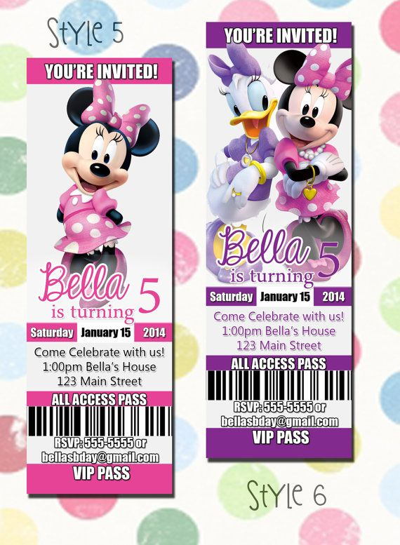 Minnie Mouse Birthday Party Invitation Ticket Style You Print Digital File Minnie Mouse Daisy Duck Invites