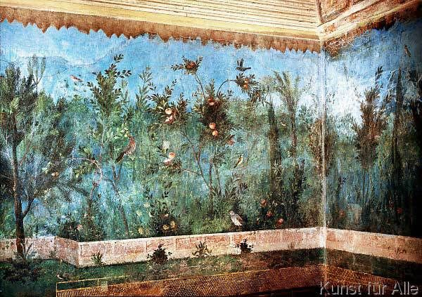 garden frescoes decorating the house of Livia, wife of