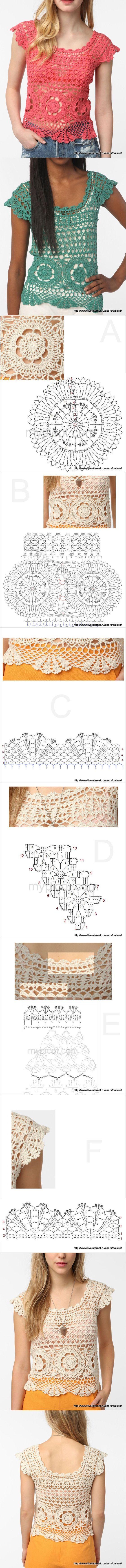 Luty Artes Crochet: Blusas em Crochê + Gráfico .