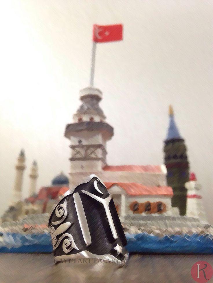 ZİHGİR Üzerinde Kayı Boyu'nun arması IYI yazılı klasik zihgir yüzüğümüz KİŞİYE ÖZEL İSİM YAZILI ZİHGİR YÜZÜĞÜ YAPILIR