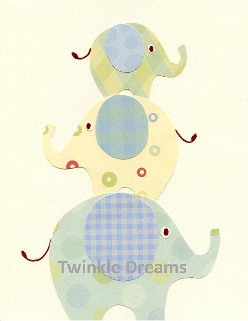 Baby Nursery Art Room Decor Elephant Blue and Green - Elephants Three - Children's/Nursery Art. $15.00, via Etsy.