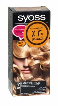 Syoss Professional Permanent Hair Colour 8-6 Light Blonde Co-developed and tested by hairdressers and colorists. Professional grey coverage. Syoss, the permamnent coloration in professional quality for home usage - with color pigment mix and nutri complex. Contains caring color cream, application bottle with developer milk, sachet with color-seal conditioner, instruction leaflet and gloves. Syoss Light Blonde is recommended for light and medium blonde hair.