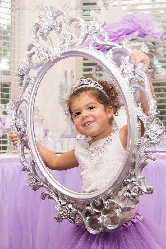 """Purple Princess Birthday Party Remember: """"THanks for making my day so magical"""", gloves and tiaras for the girls, bling around a board below the cake"""