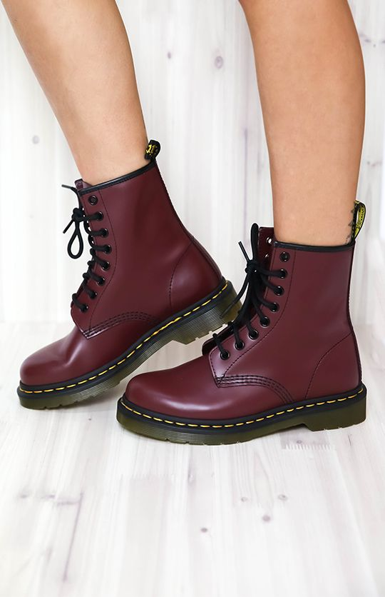 56156e793b0c2 Dr. Martens - 1460 - Cherry Red Rouge Smooth | New Arrivals | Peppermayo |  Shoes in 2019 | Shoes, Doc martens boots, Dr martens outfit