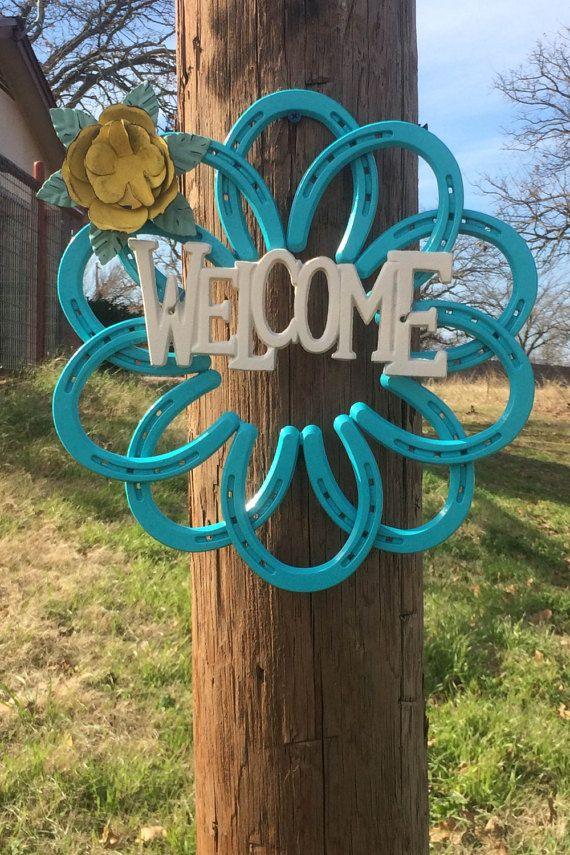 Horseshoe Wreath by CCWeldingMetalArt on Etsy