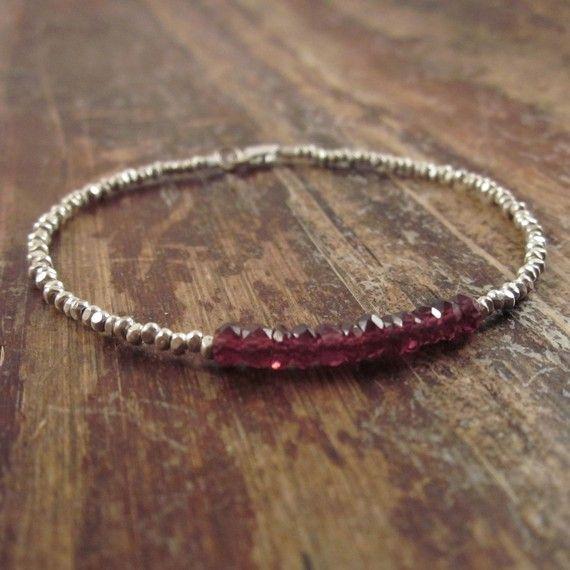 Garnet Bracelet with Karen Hill Tribe Silver Beads, January Birthstone Bracelet, Beaded Bracelet, Beadwork Bracelet, Gemstone Bracelet Women