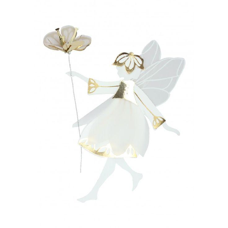 White & Gold Fairy with flower, Medium