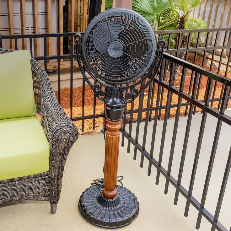 Fanimation Old Havana Outdoor Pedestal Mounted Fan Black