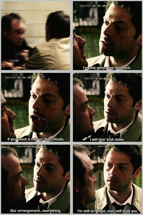 """Supernatural~~~ #Crowley #Castiel """"If you touch a hair on their heads I will tear it all down."""""""