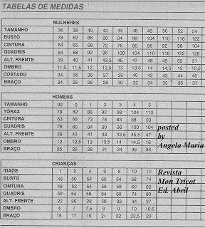by Angela Maria: Tabela de Medidas Mon Tricot
