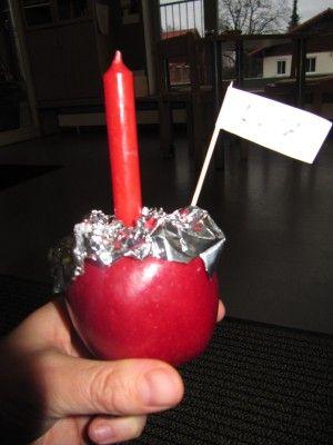 Apfelkerze, Kerzenhalter selbst gemacht