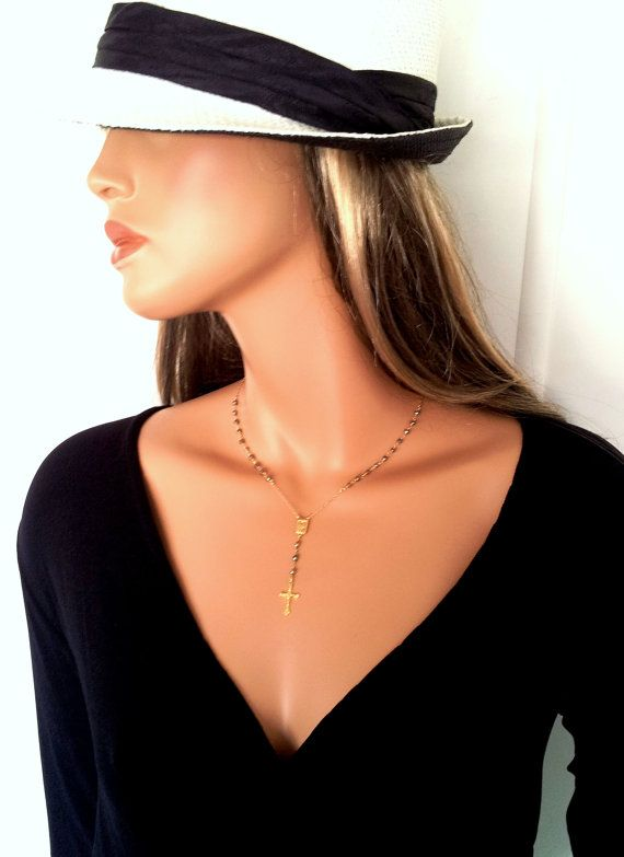 Pyrite Gold Rosary Necklace Gold Yolanda by divinitycollection, $75.00