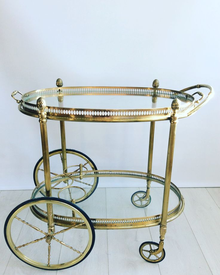 Vintage Brass French Oval Drinks Trolley