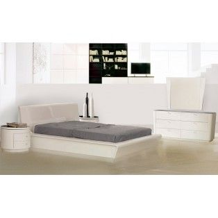 Symphony Contemporary White Lacquered Platform Bed Frame Round Nightstand With Swivel Glass Top Dresser