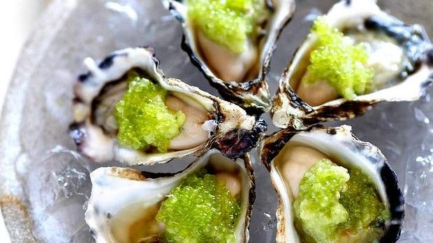 Oysters with Finger Lime.