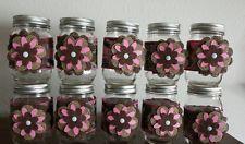 10 Handmade Pink Camo Flower Mason Jar Country Wedding Rustic Decorations